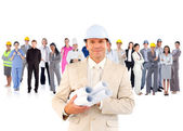 Architect standing in front of diverse career group — Foto Stock