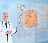 Doctor using a futuristic interface for brain analysis — Stock Photo