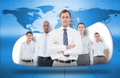 Business team on blue world map background — Stock Photo