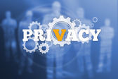 Privacy text with wheels and cogs — Stock Photo