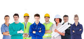 Group of with different jobs standing in line — Foto Stock