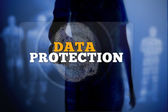 Silhouette of woman touching data protection button with fingerprint — Stock Photo