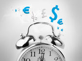 Time is money in blue — Stockfoto
