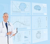 Senior doctor holding a clipboard near to futuristic screens — Stock Photo