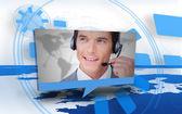 Digital speech box showing man in headset — Stock Photo