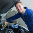 Male mechanic fixing car engine — Stock Photo #24091475