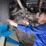Male mechanic repairing car — Stock Photo