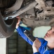 Stock Photo: Mechanic examining tire
