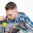 Computer engineer working on cpu — Stock Photo