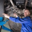 Mechanic repairing car — Stock Photo
