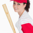 Smiling woman with baseball bat and hat — Stock Photo
