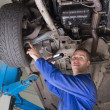 Stock Photo: Male mechanic examining under vehicle