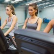 Stock Photo: Four women at spinning class