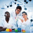 Stock Photo: Group of chemist examining test tubes