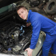 Stok fotoğraf: Mechanic examining car engine