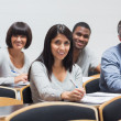 Smiling group in a lecture — Stock Photo