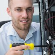 Young computer engineer working on cpu — Stock Photo #24095133