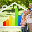 happy family near to an energy effiecient house illustration — Stock Photo