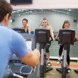 Man instructs spinning class  — Foto Stock
