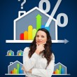 Stock Photo: Thinking businesswomstanding against energy efficient house