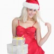 Happy woman holding christmas presents — Stock Photo #24097489