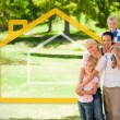 Stock Photo: Happy family in the park with house illustration