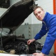 Stock Photo: Confident mechanic checking car engine oil