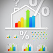 Energy efficient house graphics with question and percentage mar - Stock Photo