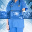 Nurse working with touch screen - Stock Photo
