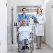 Smiling nurse assisting senior woman sitting in a wheelchair — Stock Photo