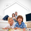 Loving family playing with toys — Stock Photo