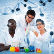 Happy scientist examining test tube on digitally generated backg — Stock Photo #24099509