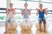Women lifting weights on exercise balls — Foto Stock