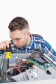 Ingegnere informatico lavorando sulla cpu — Foto Stock
