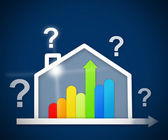 Question mark above energy efficient house graphic — Stock Photo