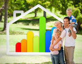 Happy family near to an energy effiecient house illustration — Stockfoto
