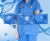 Woman doctor against background with dna — Stock Photo