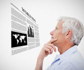 Man reading holographic world news — Stock Photo