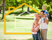 Happy family in the park with house illustration — Stock Photo