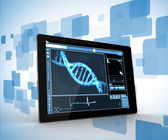 Digital tablet on a digitally generated background — Stock Photo