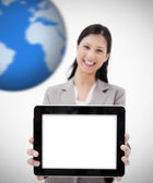 Cheerful business woman showing her digital tablet — Stock Photo