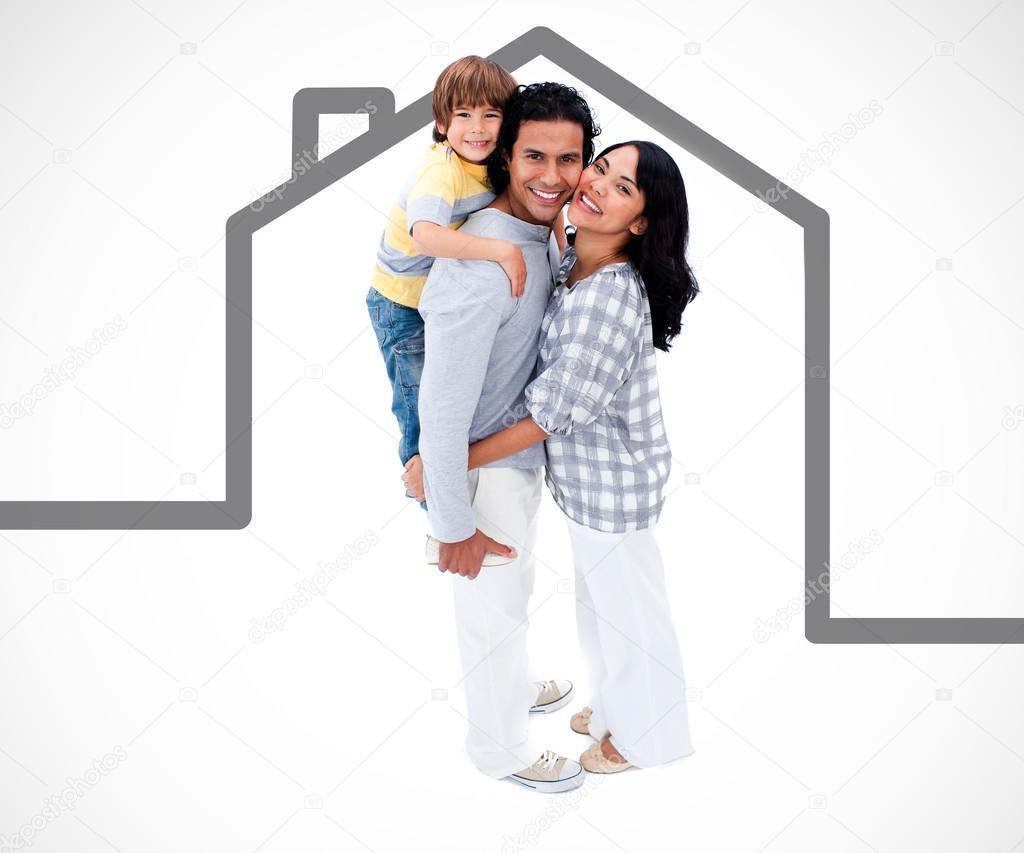 debout de famille heureuse avec une illustration de la maison grise photographie. Black Bedroom Furniture Sets. Home Design Ideas