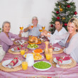 Stock Photo: Family raising their glasses at christmas