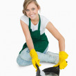 Portrait of smiling maid using brush and dust pan — Stock Photo #24101065