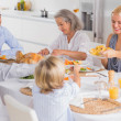 Happy Family eating the thanksgiving dinner — Stock Photo