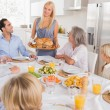 Stock Photo: Mother serving the turkey