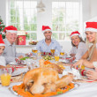 Smiling family around the dinner table at christmas - Lizenzfreies Foto