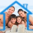 Family on a beach with blue house illustration - Stock Photo
