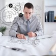 Architect planning out house — Stock Photo
