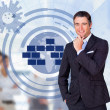 Salesman smiling with an earth illustration — Stock Photo